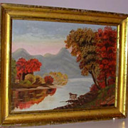 Primitive Style Maine Fall Landscape Painting Oil on Artist Board