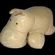 Vintage Leather Hippo / Hippopotamus Hassock