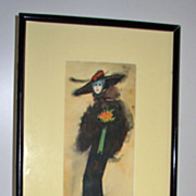 SALE Watercolor of a Tall Woman with Flowers Signed Paul Calvo