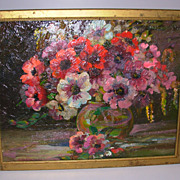 Old Oil on Board Painting of Flowers in Bowl