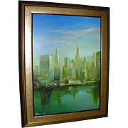 CityScape Painting Oil on Board Signed