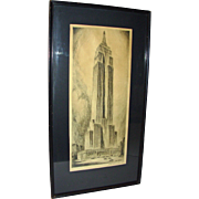 """Vintage Nat Lowell Etching The Empire State Building. Signed & dated 1930 19 x 8"""""""