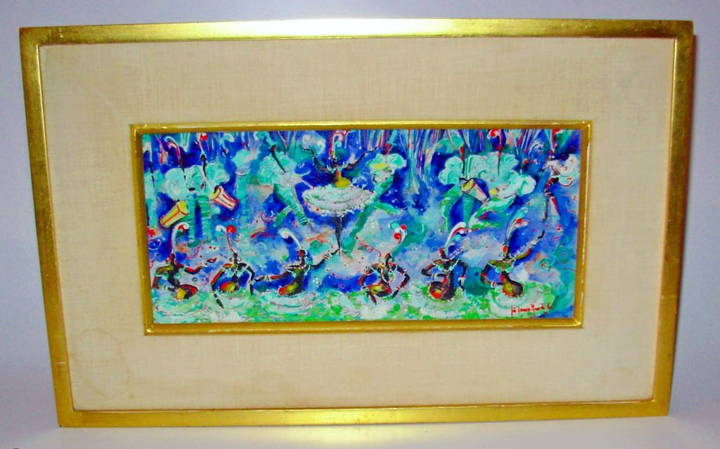 Mid Century Modern Painting Acrylic on Board of Calypso Dancers Signed