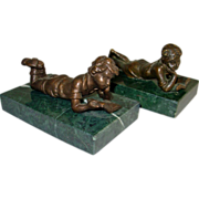 Bronze Bookends Pair Girl & Boy Reading on Green Marble Bases