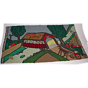 Vintage Folk Art Hooked Rug of Covered Bridge Scene 1930-40's