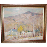 Claude Dern Signed Listed Artis Oil Painting on Board Dorset Vermont 1980