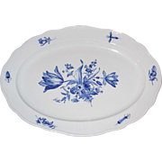 Antique Early Meissen Over Sized Platter w/ Blue Hand Painted Flowers & Bugs
