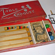 Antique Table Croquet Game in Original Box Complete