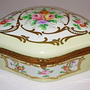 Vintage Limoges Style Large Dresser Box Jewelry Casket Hinged