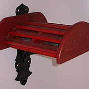 Antique J W Fiske Horse Rains Bracket in Original Red Paint