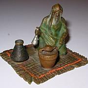 Austrian Cold Painted Bronze Man on Carpet