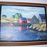 Impressionist Harbor Screen Oil Painting on Board Signed M. McMullen