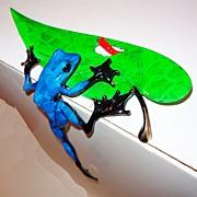 Frogman Tim Cotterill Hide & Seek Bronze w/ Enamel Frog on Leaf
