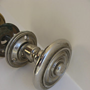 Vintage Brass and Chrome Large Door Knob and Escutcheons