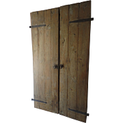 Pair of Country Architectural Plank Doors with Hand Forged Iron Strap Hinges
