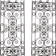 Pair of Iron Panels with Scroll Motif