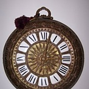 SOLD French Brass Wall Clock in the Form of a Pocket Watch