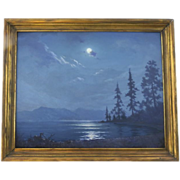 Oil on Board by Frank Montague Moore Moonlight Lake Tahoe