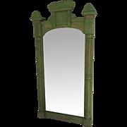 Large Tall Narrow American Eastlake Carved Incised Mirror Painted