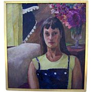 Oil of Girl by Rita Stein Mid Century