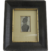 Small Reverse Painted Silhouette in Black Frame with Gilt Liner Early 19th Century or Late 18th Century