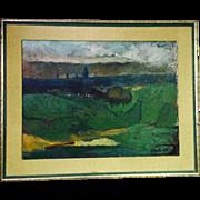SOLD Oil on Canvas Impressionist Landscape Signed R. Hyde 1957