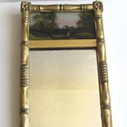 Miniature Salesman's Sample Reverse Painted Gilt Mirror c 1840