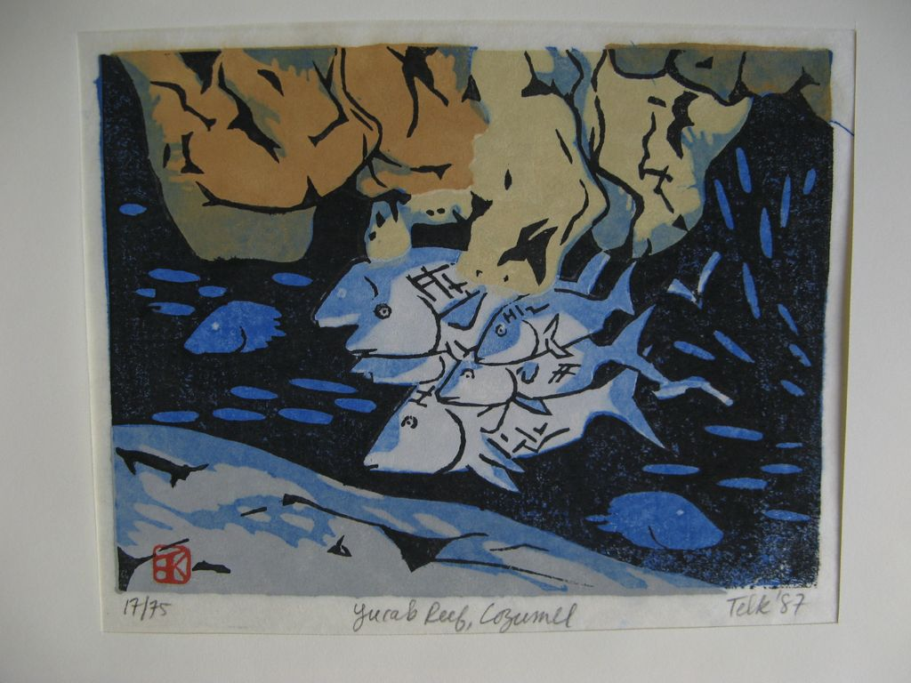 Woodblock Print Signed and Dated Yucab Reef, Cosumel