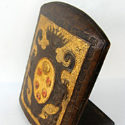 Vintage Italian Leather Bookend with Crown and Putti