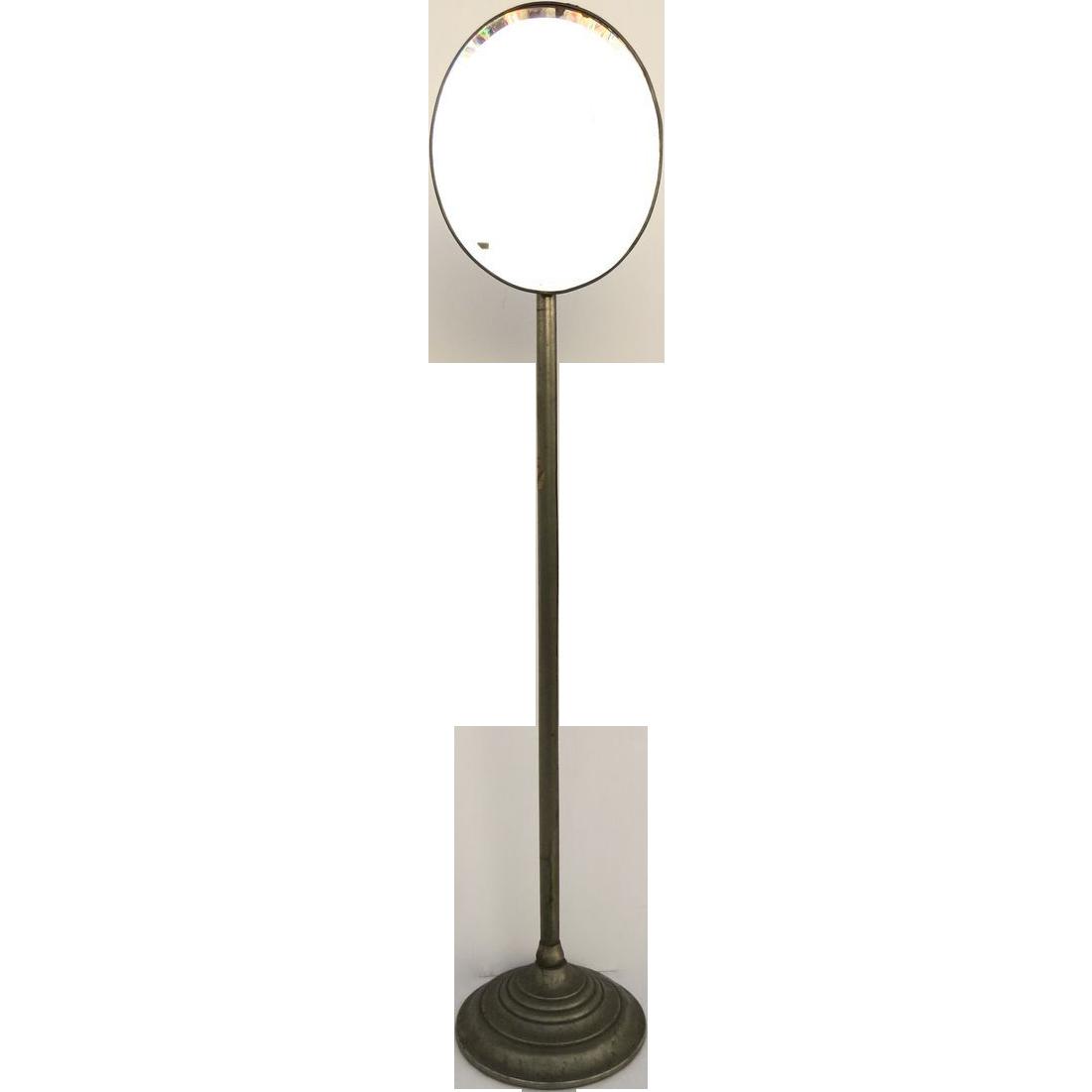 1920's Floor Standing Oval Bevel Shaving Mirror