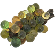 Vintage 1960's Lucite Green & Brown Grape Cluster