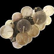 Vintage 1960's Lucite Beige Grape Cluster