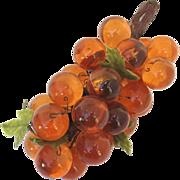 Vintage 1960's Lucite Orange Grape Cluster