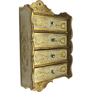 Vintage Florentine Hanging Four Drawer Spice Box with Gold Gilt