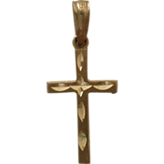 Small Delicate 14K Gold Bright Cut Cross Pendant Charm