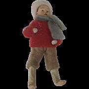 SOLD Vintage Felt Boy Figure Winter Candy Box Ornament