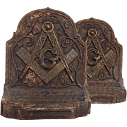 SOLD Pair of Vintage Composite Bookends with Masonic engraving