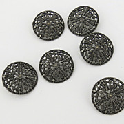 Set of Pierced Filagree Silver Buttons Vintage