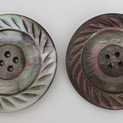 """Wonderful Very Large Mother of Pearl Carved Buttons 1 7/8"""""""