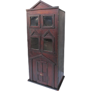 19th Century Narrow Hanging Cupboard Cabinet In the Shape of Row House Front Door Country Folk