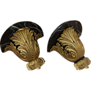 Pair Wall Brackets Ormolu Furniture Mounts Faux Marble Painted Tops