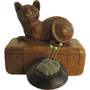 19th Century Souvenir Pin Box Pin Cushion Cat Top Hat