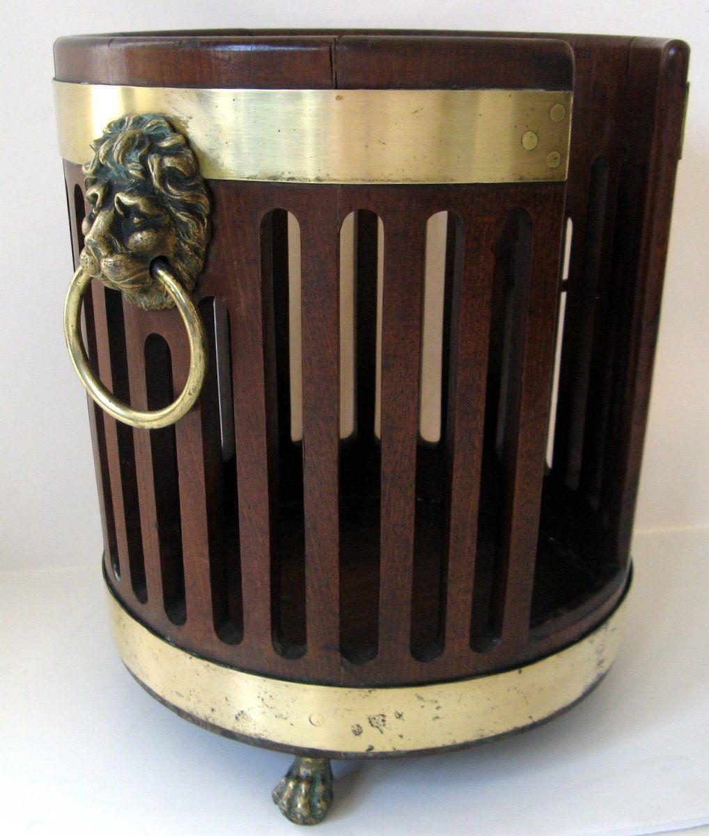 English George III Mahogany Brass Bound Plate Bucket