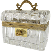 Vintage Crystal and Bronze Ormolu Casket Box Top Handle Key by Cristal et Bronze Paris ...
