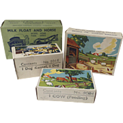 Four (4) Britain's Toy Empty Boxes Props Great Graphics Farm Milk Float Horse, Dog ...