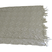 Vintage Handmade Cream Crochet Coverlet Bedspread with Fringe