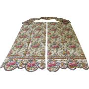Vintage Hand Finished Linen Fabric Floral Drapes and Curtain with Scalloped Hem and Swag Valan