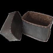 Vintage African Bark Basket Box Two Part Lid
