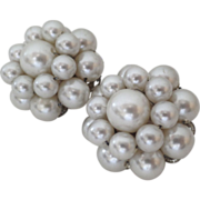 "Vintage 60's ""Imitation"" Pearl Cluster Clip Earrings ""Japan"""