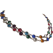 Vintage Double Strand Necklace Bezel Set Multi-Colored Gems